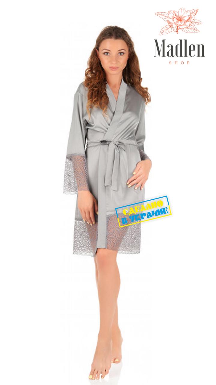 Шелковый халат с кружевом (Серый)