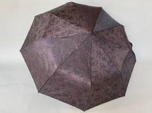 Женский коричневый зонт полуавтомат шелкография на 9 спиц