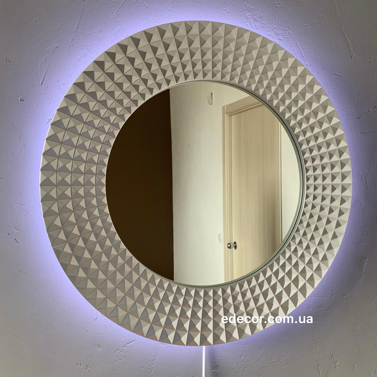 Зеркало круглое с LED подсветкой c обратной стороны в серебряной раме Madrid