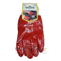 Перчатки трикотажные с ПВХ-покрытием, полный облив, красные, Doloni 4518