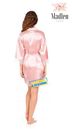 Розовый атласный халат с кружевами, фото 2