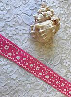 "Лента репс с рисунком ""Серце"" цвет розовый"