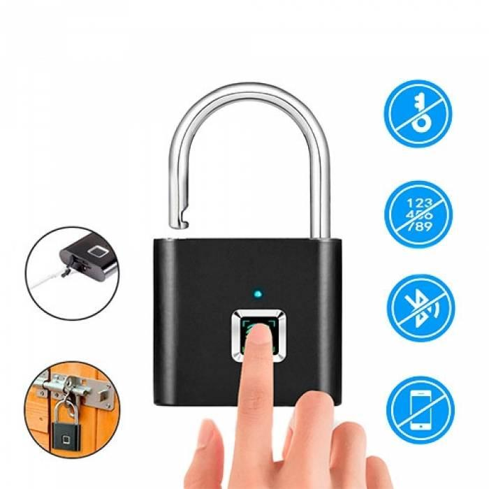 Замок биометрический умный с отпечатком пальца навесной KERUI