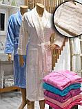 Халат женский махра/велюр длинный  без капюшона TM GURSAN СИРЕНЕВЫЙ, фото 3