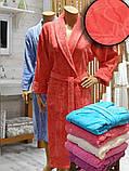 Халат женский махра/велюр длинный  без капюшона TM GURSAN СИРЕНЕВЫЙ, фото 5