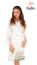 Шелковый халат с кружевом для утра невесты (Молочный)