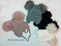 Детская зимний  шапка  на девочку.(3-4 года)