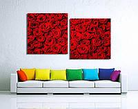"""Модульная картина от 100х55 см до 200х109 см на холсте """"Красные розы"""". От производителя"""