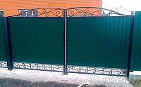 Ворота распашные из профнастила с кованными элементами