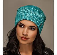 "Комплект шапка и шарф вязаные ""Лолита"" бирюзовый 906919"