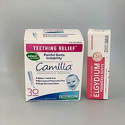 Средства для облегчения прорезывания зубов капли Камелия и обезболивающий гель Elgydium