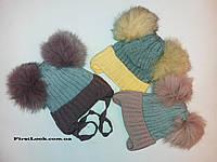 Детская зимний  шапка  на девочку.(4-6 лет)