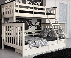 Двухъярусная деревянная семейная кровать Скандинавия. (140*90*190/200)