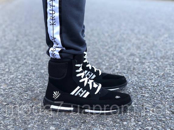 Мужские зимние дутики на шнурках черные, фото 2