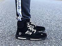 Мужские зимние дутики на шнурках черные