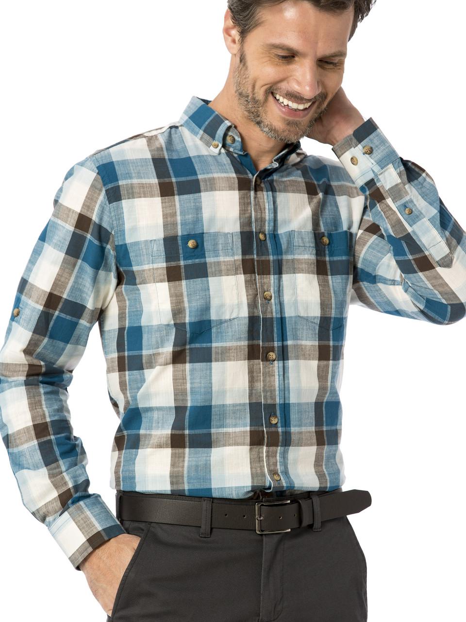Мужская рубашка LC Waikiki / ЛС Вайкики в бирюзово-коричневую клетку, с карманами и пуговицами на воротнике