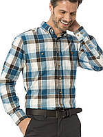 Мужская рубашка LC Waikiki / ЛС Вайкики в бирюзово-коричневую клетку, с карманами и пуговицами на воротнике, фото 1
