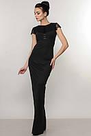Вечернее черное женское платье с кружевной спиной по фигуре в пол RiMari Канны 42, 44, 48