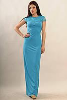 Вечернее голубое женское платье с кружевной спиной по фигуре в пол RiMari Канны 42, 44, 46, 48
