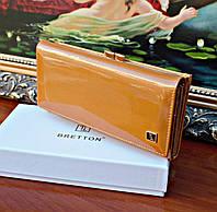 Женский кошелек BRETTON Gold лаковый, Натуральная Кожа
