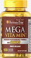 Витамины Puritan's Pride Mega Vita Min Multivitamin for Seniors Timed Release 100 таблеток (4384301449)