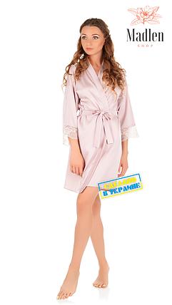 Шелковый халат с кружевом Martelle Lingerie (Пудра), фото 2