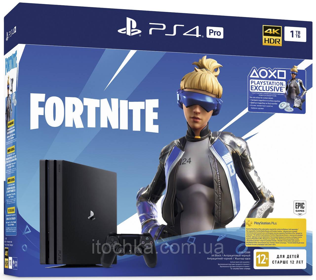 Игровая консоль Sony PS4 PlayStation 4 Pro 1TB Black Fortnite