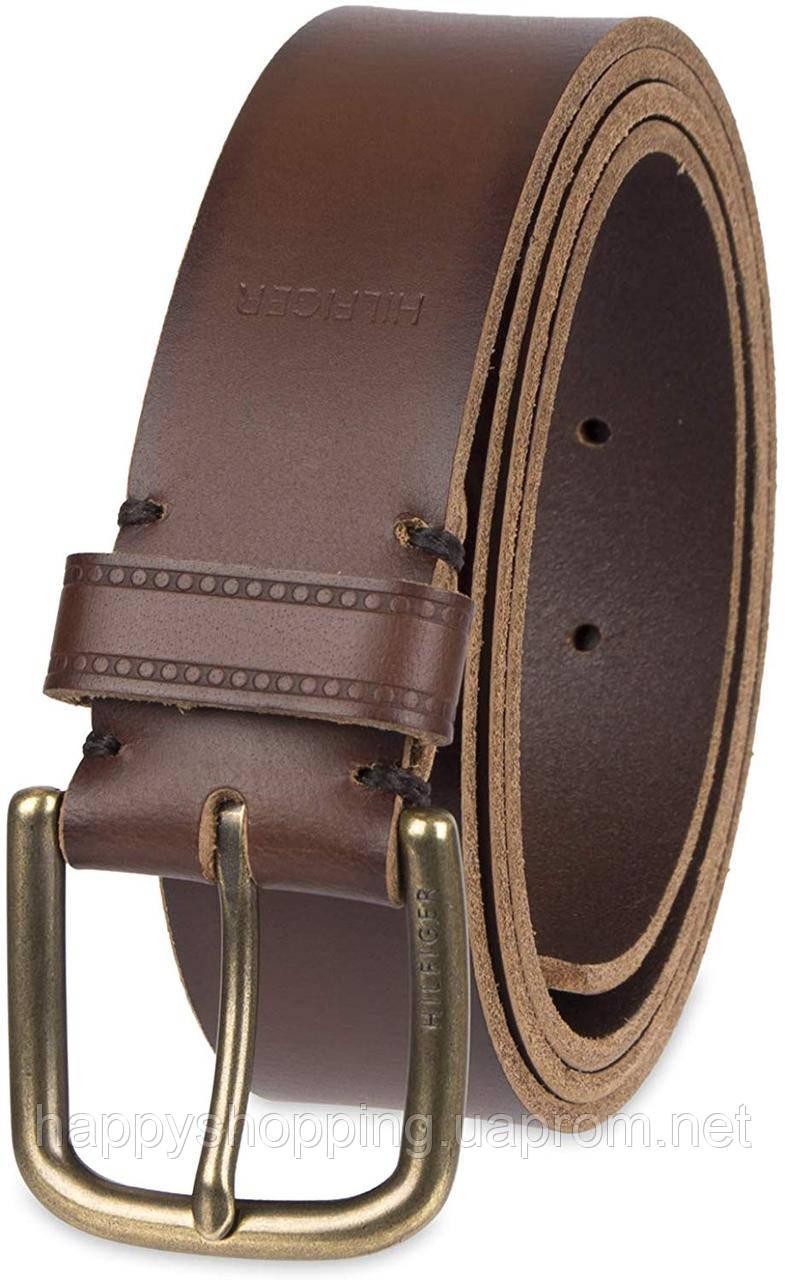 Мужской оригинальный коричневый кожаный ремень Tommy Hilfiger (Размер L 38-40)