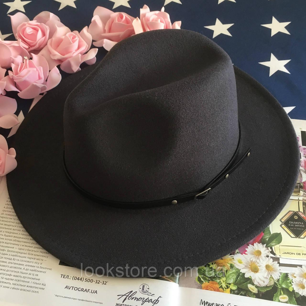 Шляпа Федора унисекс с устойчивыми полями Classic темно-серая (графит)