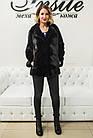 Шуба Норковая Черная 65 см Канадская Английский Воротник 0521ЕИШ, фото 3