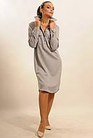 Серое женское платье-рубашка из плотной ткани RiMari  Текила 42