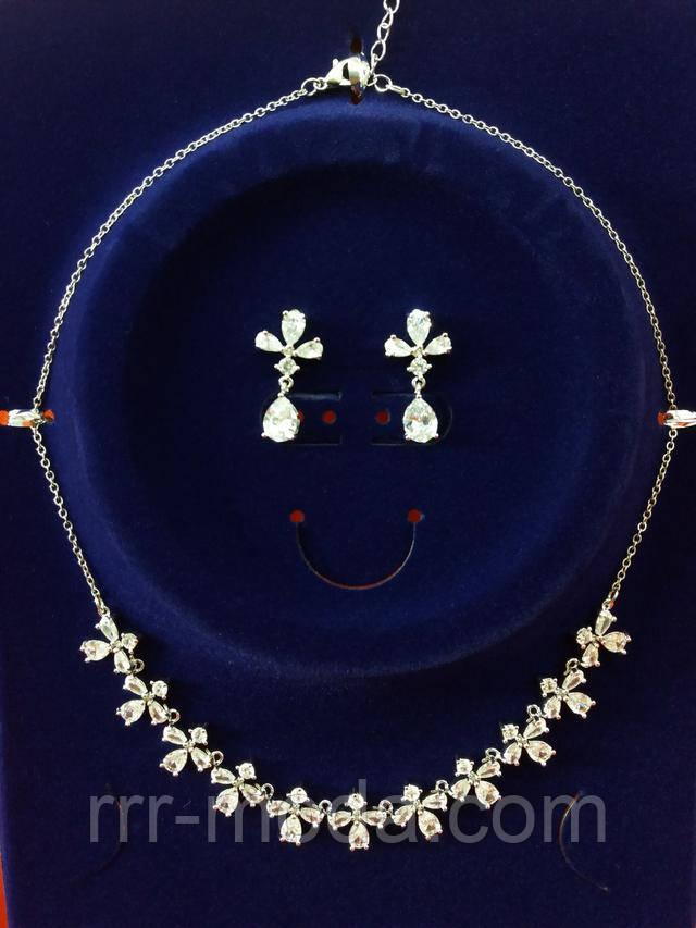 Свадебные колье из камней сваровски, комплекты с серёжками оптом, фото