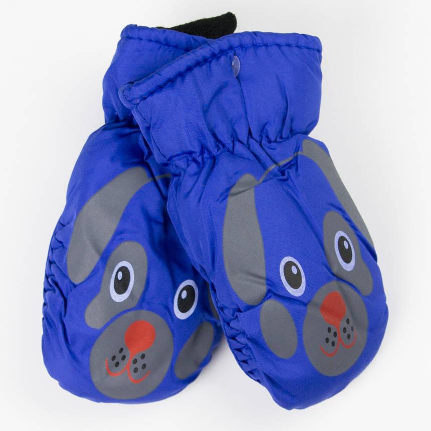 Зимние детские варежки-краги (собачки) №19-12-16 синий, фото 2
