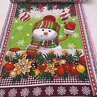 Вафельная ткань со снеговиком и ёлочными шарами, ширина 50 см