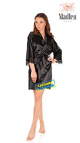 Атласный халат с кружевом Martelle Lingerie (Черный)