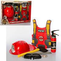 Детский игровой набор Пожарника F015C жилет каска и принадлежности