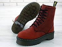 """Ботинки женские зимние замшевые Dr. Martens Jadon """"Бордовые"""" искусственный мех размер 36-41, фото 1"""