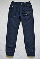 Утеплённые,синие,Котоновые брюки ДЖОГГЕРЫ для мальчиков ,.Размеры 140- см.Фирма GRACE.Венгрия