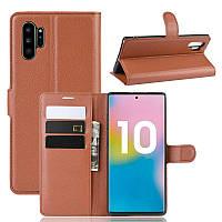 Чехол Luxury для Samsung Galaxy Note 10 Plus (N975) книжка коричневый