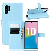 Чехол Luxury для Samsung Galaxy Note 10 Plus (N975) книжка голубой