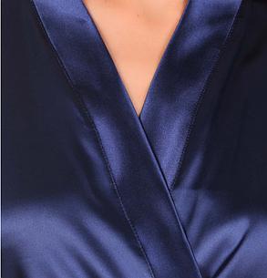 Атласный халат с кружевом (Темно-синий), фото 2