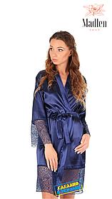 Атласный халат с кружевом (Темно-синий)