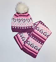 Комплект шапка і шарф для дівчинки з малюнком
