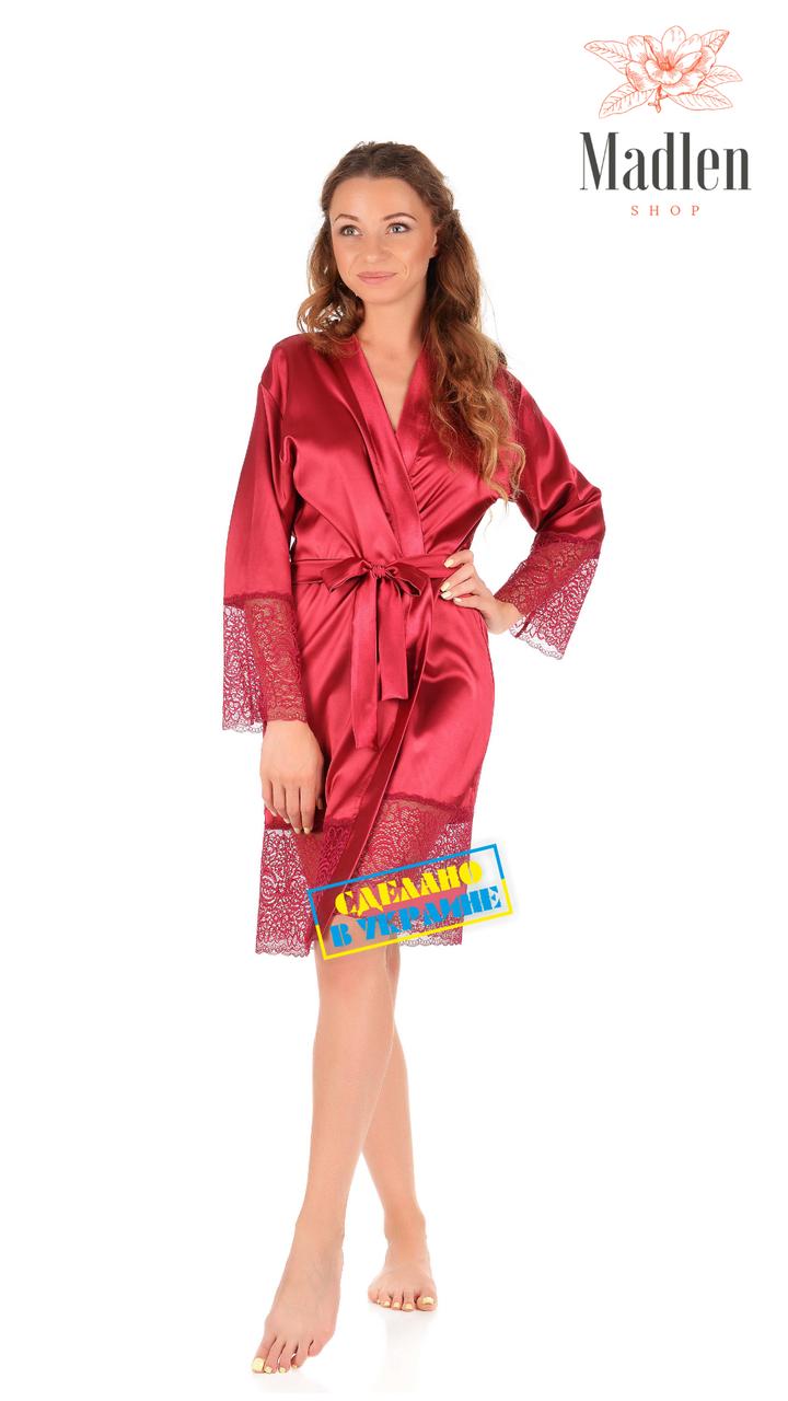 Атласный халат с кружевом (вишневый)