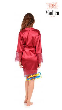Атласный халат с кружевом (вишневый), фото 2