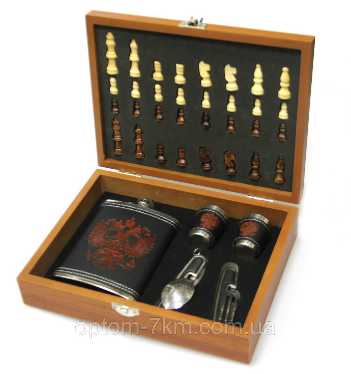 Чоловічий подарунковий набір з флягою і шахами №QZ8 3278 VJ
