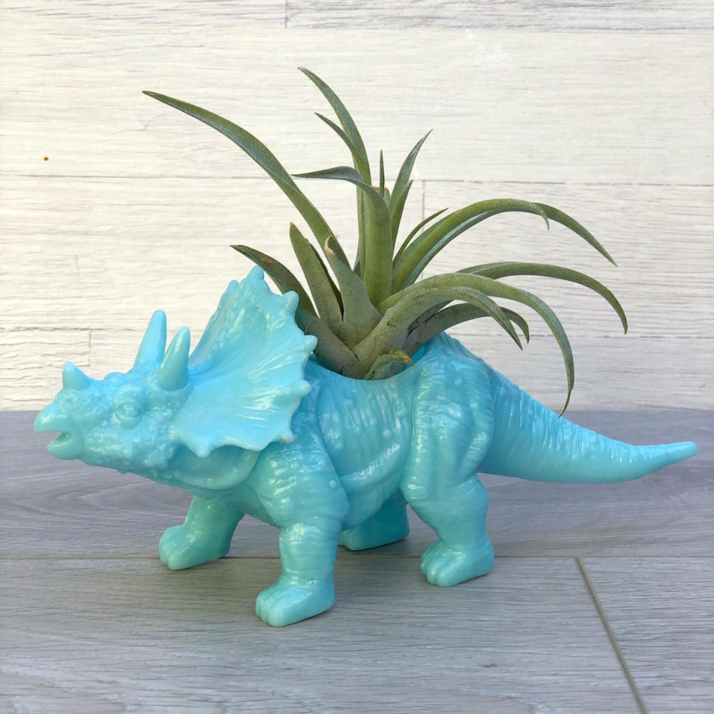 Цветочное кашпо Динозавр (трицератопс) с тилландсией