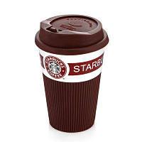 Керамический стакан Starbucks 350 мл с крышкой ( MH56 ) коричневая