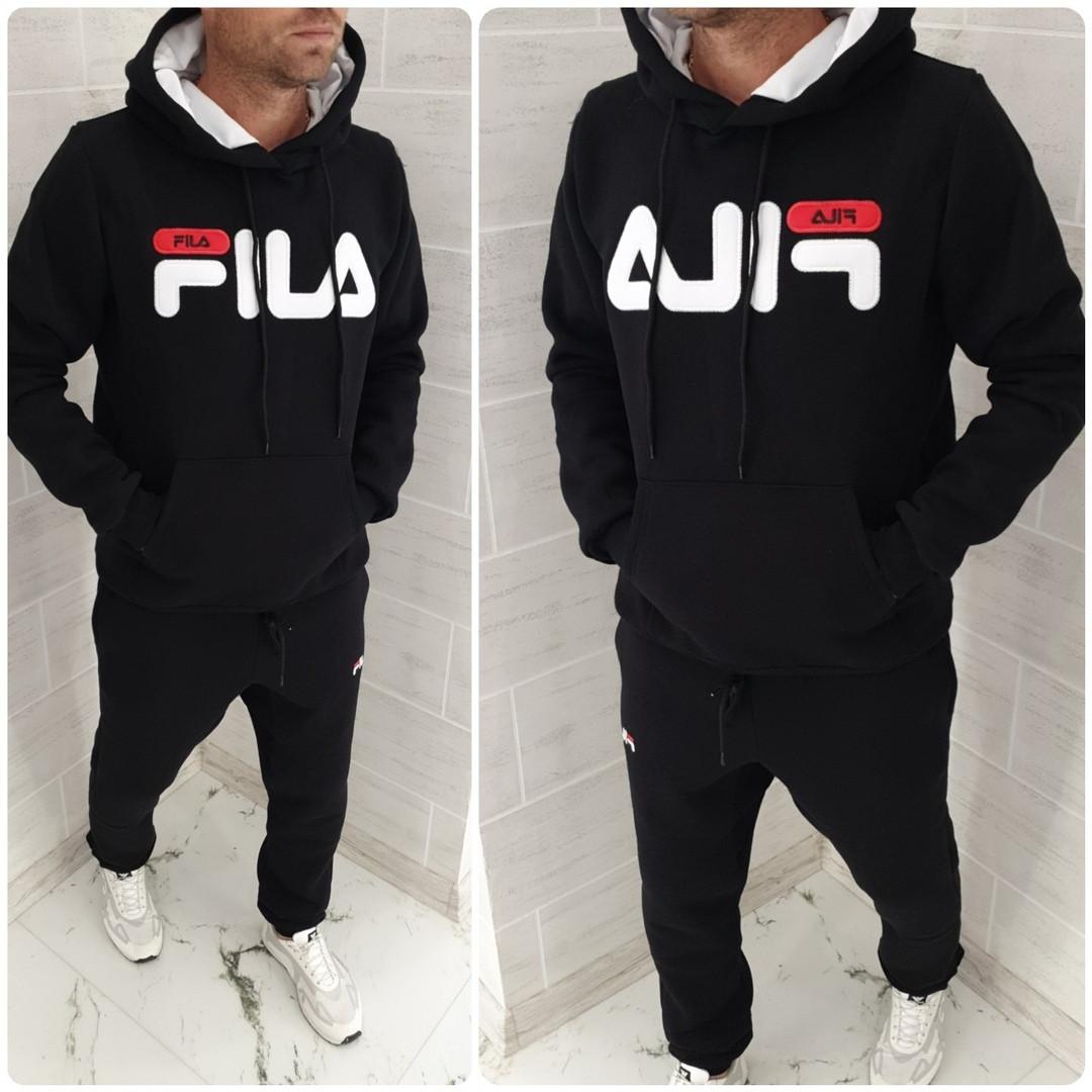 Костюм спортивный мужской в стиле Fila, теплый, с капюшоном, карман кенгуру, качественная копия!