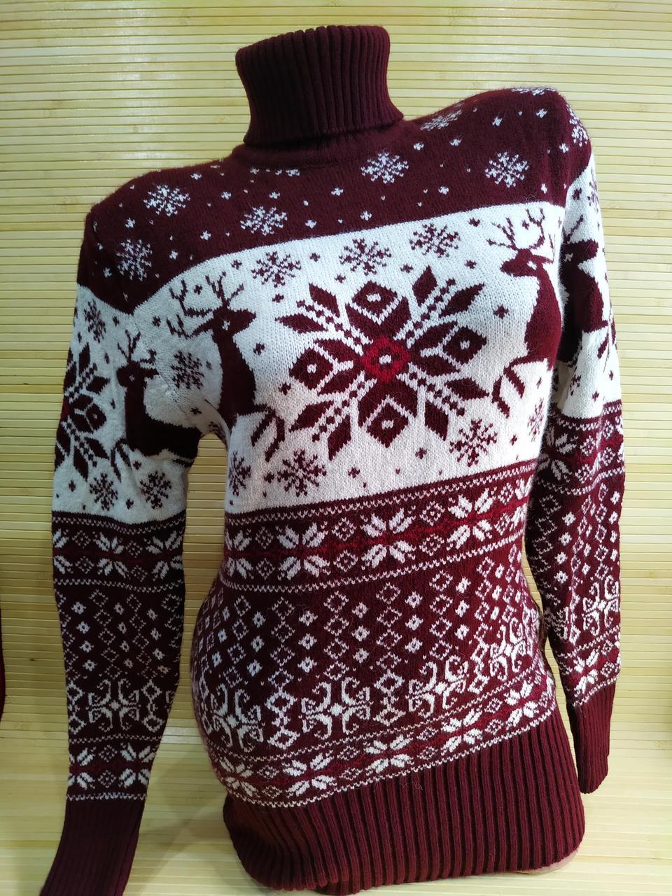 Теплый свитер-туника с оленями женская в интернет-магазине